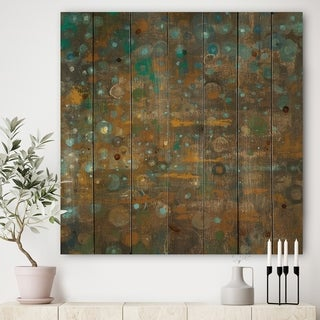 Designart 'Blue and Bronze Dots on Glass IV' Cabin & Lodge Print on Natural Pine Wood - Blue