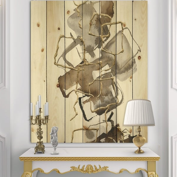 Designart 'Gold Glam Squares III' Modern & Contemporary Print on Natural Pine Wood - Brown