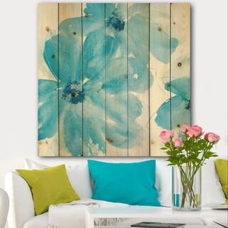 Designart 'Blue Watercolor Flowers' Farmhouse Print on Natural Pine Wood - Blue