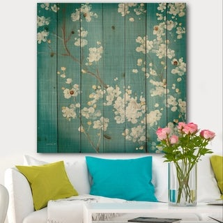 Designart 'Blue Cherry Blossoms I' Cabin & Lodge Print on Natural Pine Wood - Blue