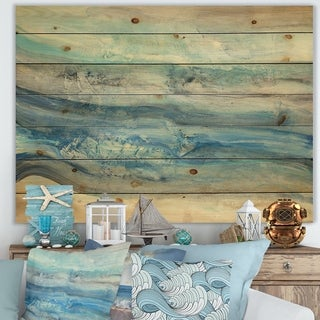 Designart 'Ocean Mineral Waves' Nautical & Coastal Print on Natural Pine Wood - Blue