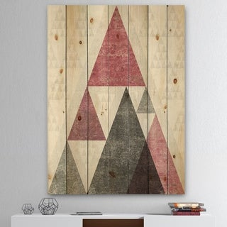 Designart 'Pink Geometric Mod Triangles II' Mid-Century Transitional Modern Print on Natural Pine Wood - Grey/Pink