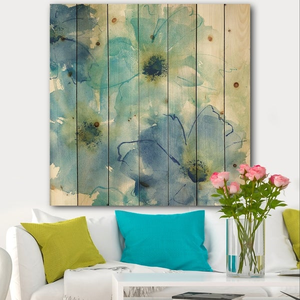 Designart 'Seashell Cosmos II' Cabin & Lodge Print on Natural Pine Wood - Blue