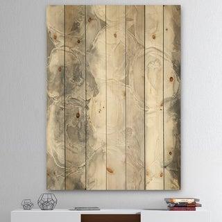 Designart 'Gray Circles I' Modern & Contemporary Print on Natural Pine Wood - Multi-color