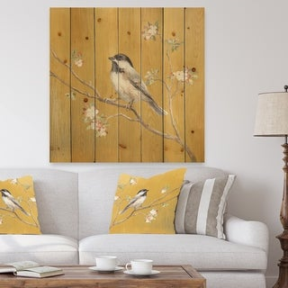 Designart 'Gold Bird on Blossoms IV' Farmhouse Print on Natural Pine Wood - Multi-color