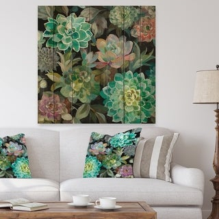 Designart 'Floral Succulents' Traditional Print on Natural Pine Wood - Blue/Green