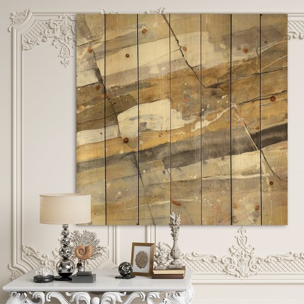 Designart 'Fire and Ice Minerals V' Modern & Contemporary Print on Natural Pine Wood - Multi-color