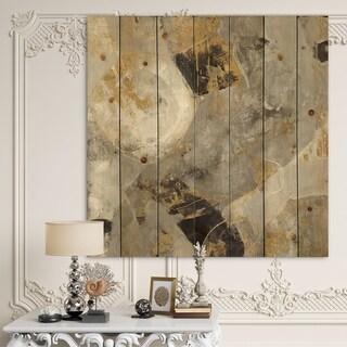 Designart 'Glam Gold Desert Neutral' Modern & Contemporary Print on Natural Pine Wood - Grey
