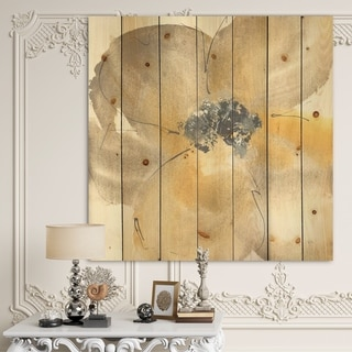 Designart 'Galm Flower Tones II' Traditional Print on Natural Pine Wood - Multi-color