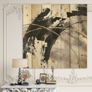 Designart 'Glam Painted Arcs I' Transitional Print on Natural Pine Wood - Black