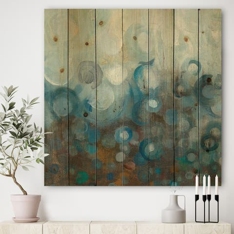 Designart 'Blue and Bronze Dots on Glass I' Modern & Contemporary Print on Natural Pine Wood - Blue
