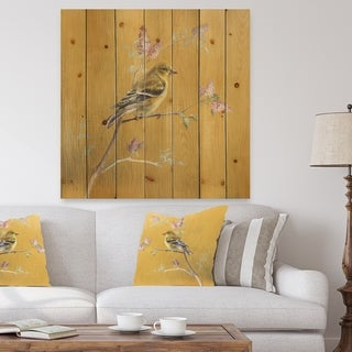 Designart 'Gold Bird on Blossoms III' Farmhouse Print on Natural Pine Wood - Multi-color