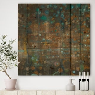 Designart 'Blue and Bronze Dots on Glass III' Cabin & Lodge Print on Natural Pine Wood - Blue