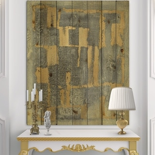 Designart 'Glam Metallic Form II' Modern & Transitional Print on Natural Pine Wood - Grey