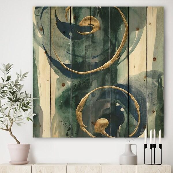 Designart 'Mettalic Indigo and Gold II' Posh & Luxe Print on Natural Pine Wood - Blue