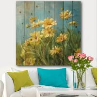 Designart 'Summer Field I' Traditional Print on Natural Pine Wood - Blue