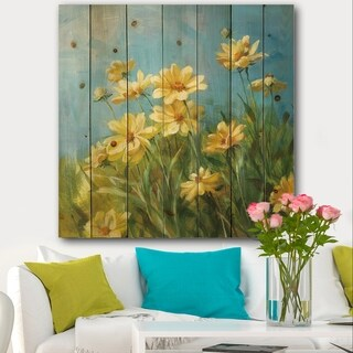 Designart 'Summer Field I' Traditional Print on Natural Pine Wood - Blue