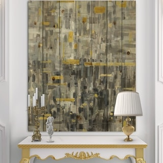 Designart 'Glam Gold Reflection' Modern & Transitional Print on Natural Pine Wood - Grey