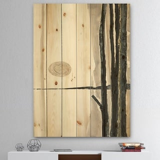 Designart 'Forest Silhouette I' Modern Farmhouse Print on Natural Pine Wood - Black