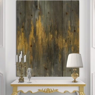 Designart 'Black and Gold Glam Abstract' Modern & Contemporary Print on Natural Pine Wood - Grey