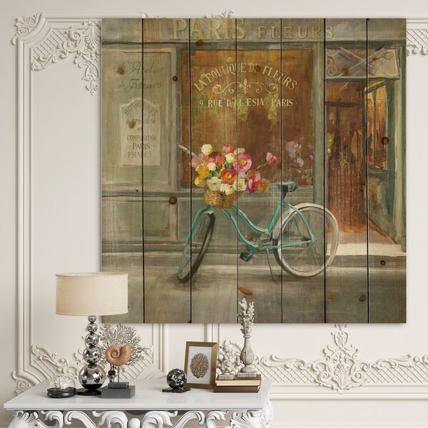Designart 'Paris French Flowershop ' Traditional Print on Natural Pine Wood - Multi-color