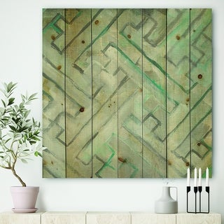 Designart 'Lost in Geometric Element ' Modern & Contemporary Print on Natural Pine Wood - Grey/Blue