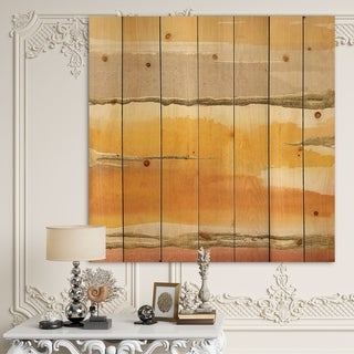 Designart 'Gilded Amber II' Modern & Contemporary Print on Natural Pine Wood - Multi-color