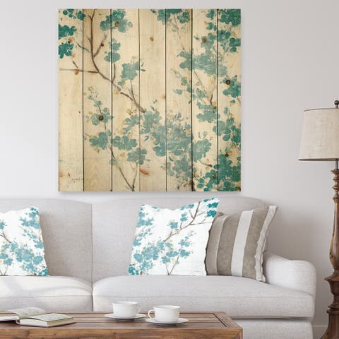 Designart 'Teal Cherry Blossoms II' Traditional Floral Print on Natural Pine Wood - Blue