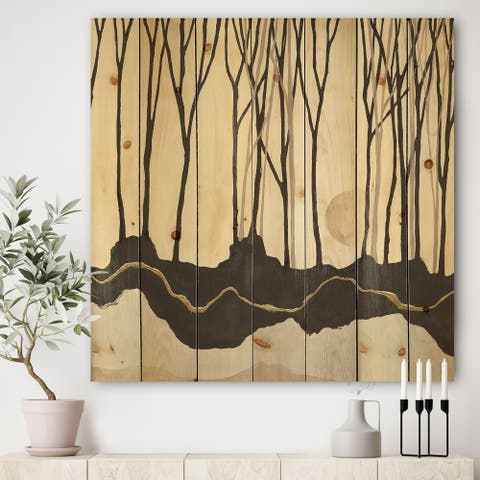 Designart 'Geometric Forest' Farmhouse Print on Natural Pine Wood - Black