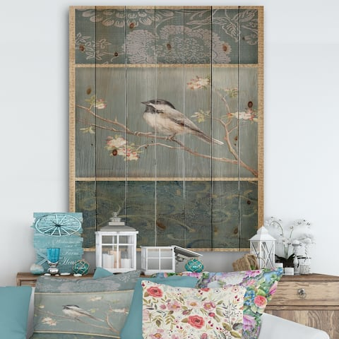 Designart 'Farmhouse Triptych of Blue Ornaments And Chickadee' Farmhouse Print on Natural Pine Wood - Grey