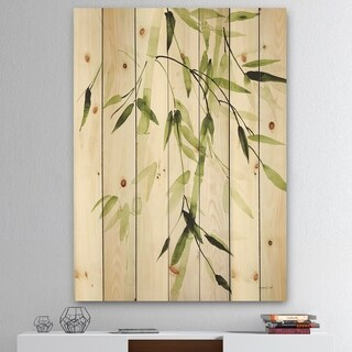 Designart 'Simplist Bamboo Leaves II' Lake House Print on Natural Pine Wood - Green