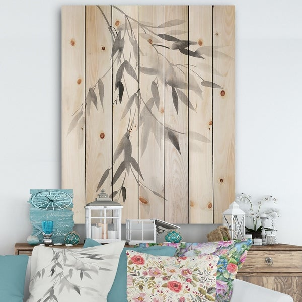 Designart 'Simplist Bamboo Leaves IV' Cabin & Lodge Print on Natural Pine Wood - Black/White