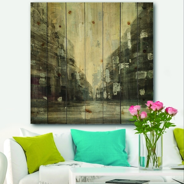 Designart 'Black and White Cityscape' Traditional Print on Natural Pine Wood - Black