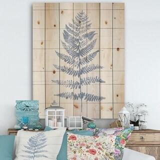 Designart 'Blue Fern Print on wood II' Cabin & Lodge Print on Natural Pine Wood - Blue
