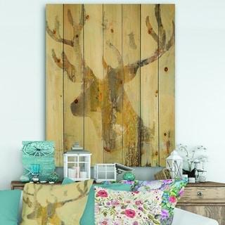 Designart 'Golden Deer II' Modern Farmhouse Print on Natural Pine Wood - Brown