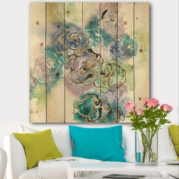 Designart 'Pastel Foral Composition I' Cabin & Lodge Print on Natural Pine Wood - Blue