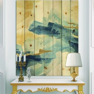 Designart 'Metallic Gold Indigo II' Modern Glam Print on Natural Pine Wood - Blue