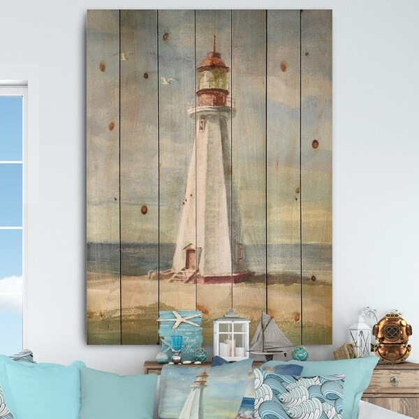 Designart 'Nautical Lighthouse III' Nautical & Beach Print on Natural Pine Wood - Blue/Red