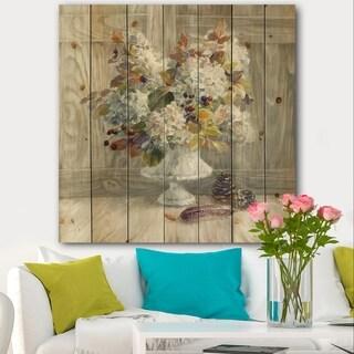 Designart 'Rustic Florals White' Cabin & Lodge Print on Natural Pine Wood - Grey/Brown
