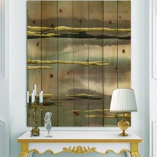 Designart 'Glamorous Morning Fog I' Modern Glam Print on Natural Pine Wood - Grey