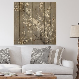 Designart 'White Cherry Blossoms II' Traditional Print on Natural Pine Wood - Black/White