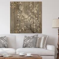 Designart 'White Cherry Blossoms II' Traditional Print on Natural Pine Wood - Black/White