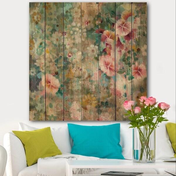 Designart 'Flower Shower III' Farmhouse Print on Natural Pine Wood - Multi-color