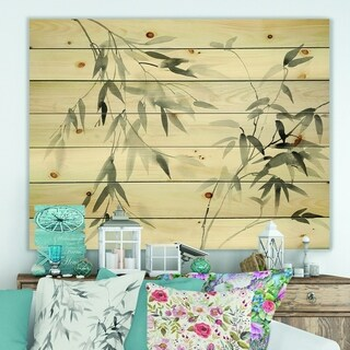 Designart 'Bamboo Leaves II' Farmhouse Print on Natural Pine Wood - Black/White