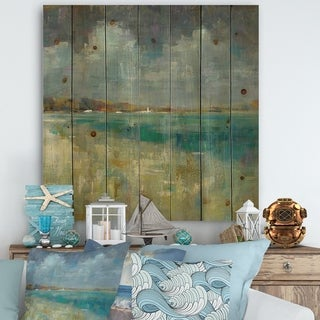Designart 'Sky and Sea' Nautical & Coastal Print on Natural Pine Wood - Blue