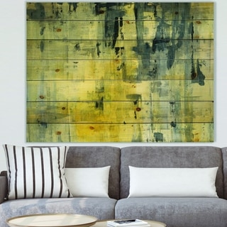 Designart 'Yellow and Black Element' Modern & Contemporary Print on Natural Pine Wood - Grey