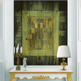 Designart 'Gold Geometric Tapestry II' Modern & Transitional Print on Natural Pine Wood - Grey