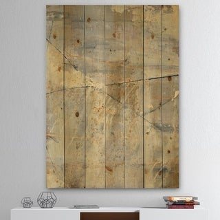 Designart 'Geometric Cream Block I' Modern Glam Print on Natural Pine Wood - Multi-color