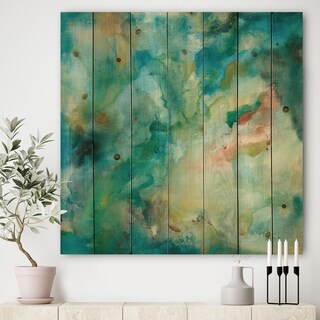 Designart 'Interstellar' Contemporary Print on Natural Pine Wood - Multi-color