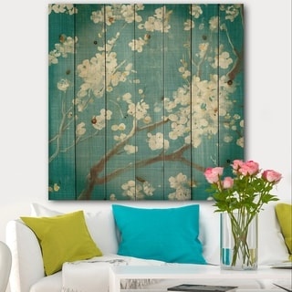 Designart 'Blue Cherry Blossoms II' Cabin & Lodge Print on Natural Pine Wood - Blue